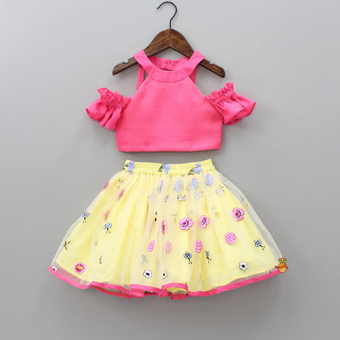 Pre Order: Cold-Shoulder Pink Top With Yellow Skirt