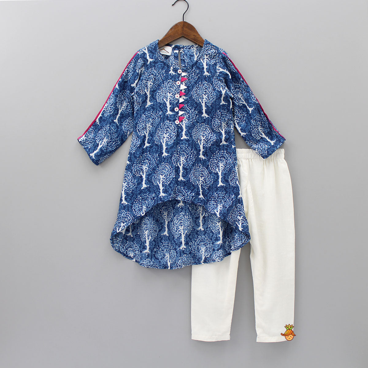 Pre Order: Blue Printed Up And Down Kurta And White Pyjama Set
