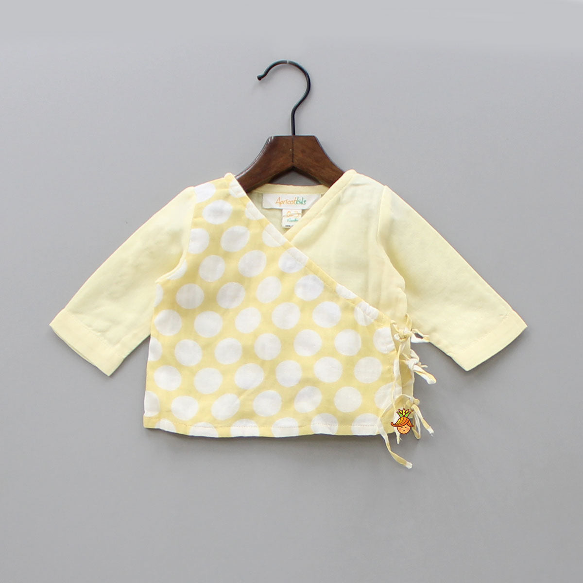 Organic Cotton Polka Print Jhabla - Light Yellow