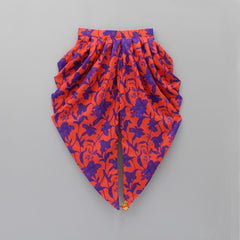 Pre Order: Lotus Crop With Orange Floral Dhoti