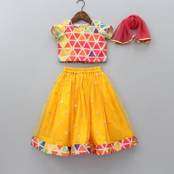Pre Order: Multicolour Top With Yellow Lehenga Set