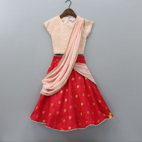 Pre Order: Peach Embroidered Choli And Printed Lehenga With Attached Dupatta