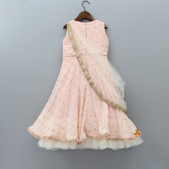 Pre Order: Peach Embroidered Gown With Draped Dupatta