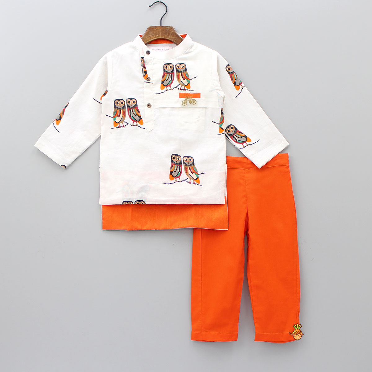 Pre Order: Owl Print Kurta And Orange Pant