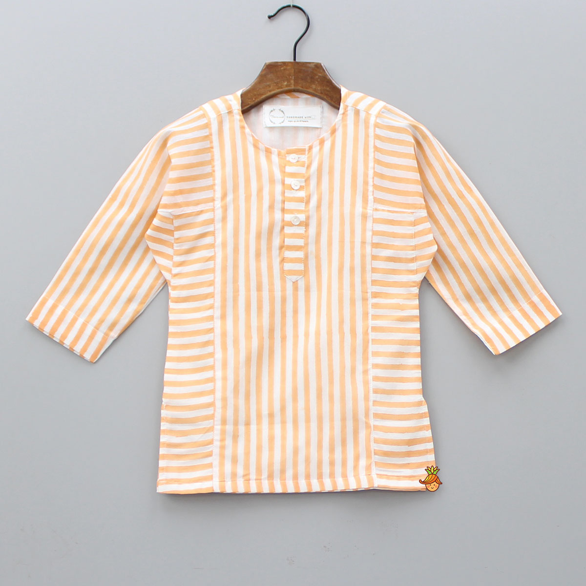 White And Orange Striped Kurta