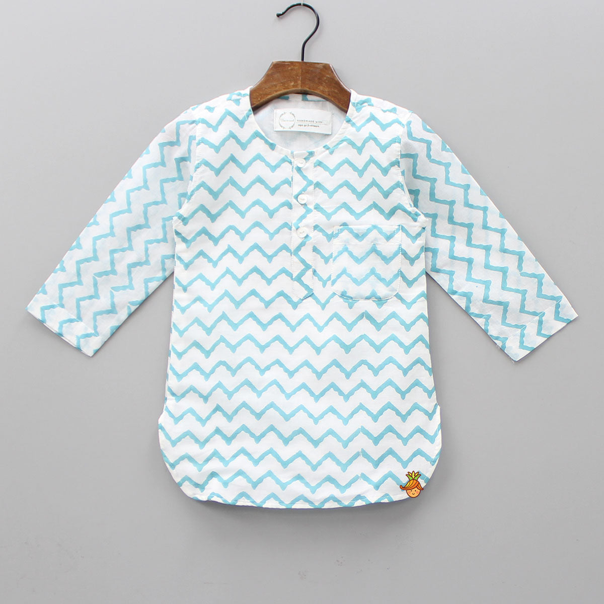 White And Light Blue Chevron Kurta