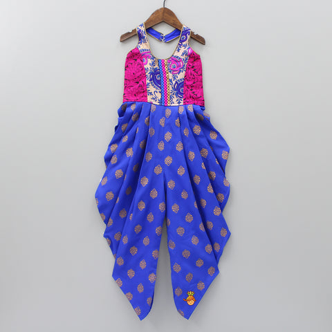 Floral Thread Work Pink And Blue Jumpsuit
