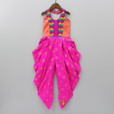 Multicolour Thread-Work And Printed Jumpsuit