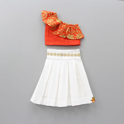 Pre Order: Orange One Shoulder Crop Top With White Skirt