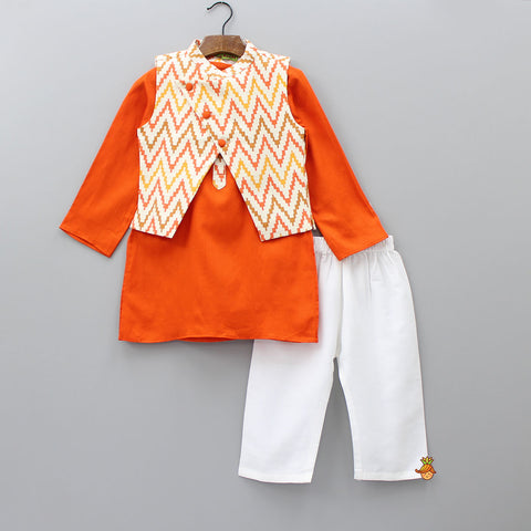 Pre Order: Orange Kurta And White Pyjama With Ikkat Print Nehru Jacket