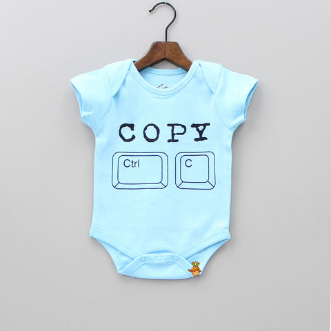 Organic Blue Copy Print Bodysuit