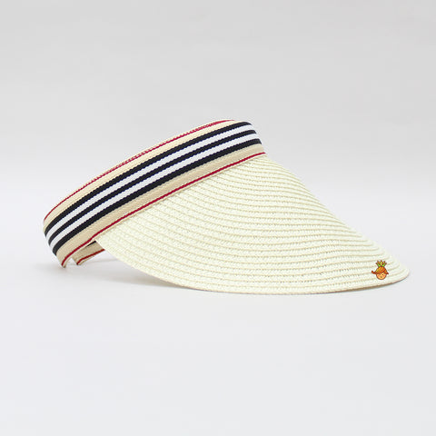 Cream Cutwork Visor Cap