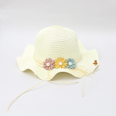 Cutwork Ivory Pearly Floral Hat