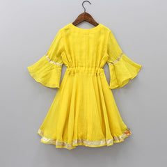 Pre Order: Yellow Bead Embroidered Mid Calf Length Dress