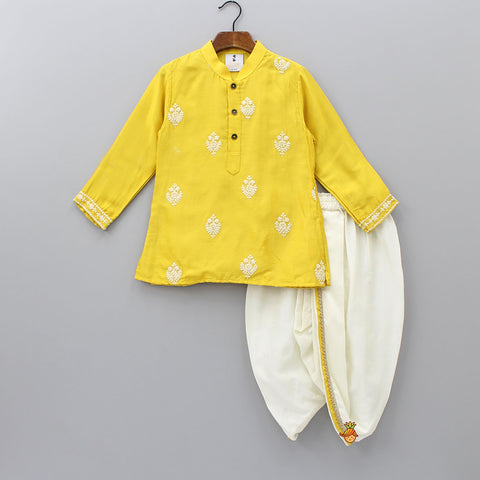 Pre Order: Yellow Embroidered Kurta And Dhoti