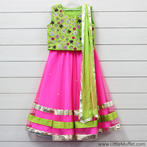 Pre- Order- Bright Pink And Green Lehenga