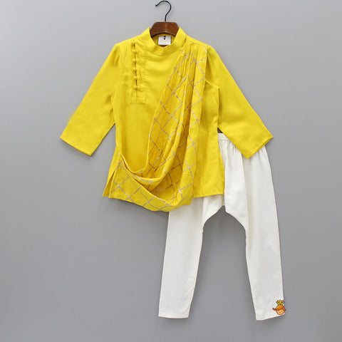 Pre Order: Yellow Gota Drape Kurta And Churidaar
