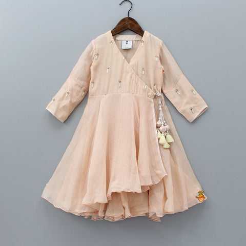 Pre Order: Peach Angarkha Dress