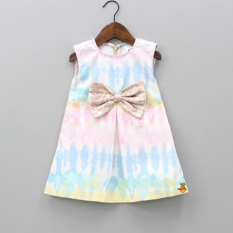 Pre Order: Tie And Dye Dress With Sequin Bow
