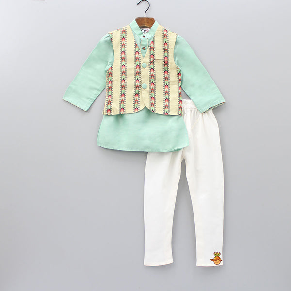 Pre Order: Mint Green Kurta And White Churidar With Printed Jacket