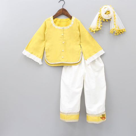 Pre Order: Yellow Kurta And White Pant With Dupatta