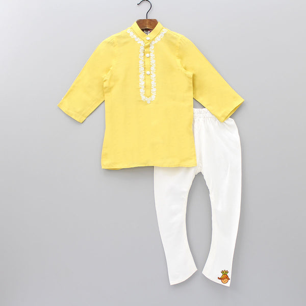 Pre Order: Yellow Kurta And White Churidar