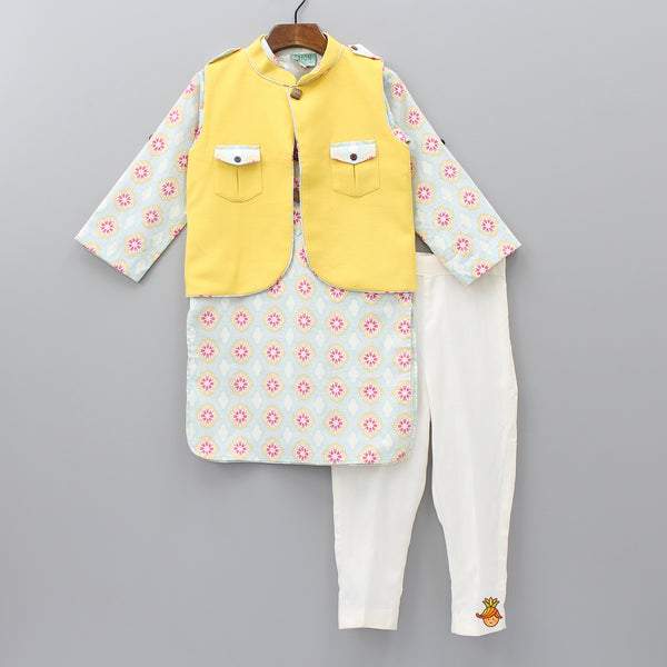 Pre Order: Printed Kurta And White Pant With Yellow Jacket