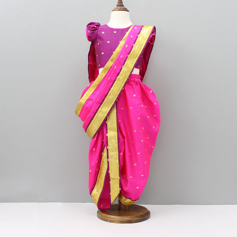 Pre Order: Purple And Hot Pink Nauvari Saree