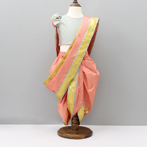 Pre Order: Peach And Grey Nauvari Saree