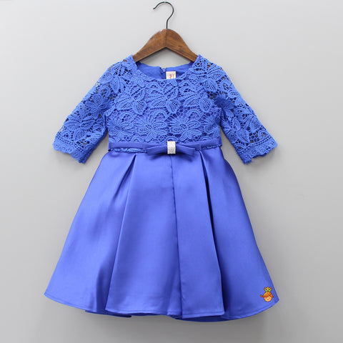 Navy Blue Floral Lace Work Calf Length Dress
