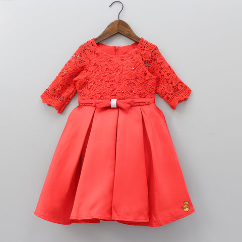 Red Floral Lace Work Calf Length Dress