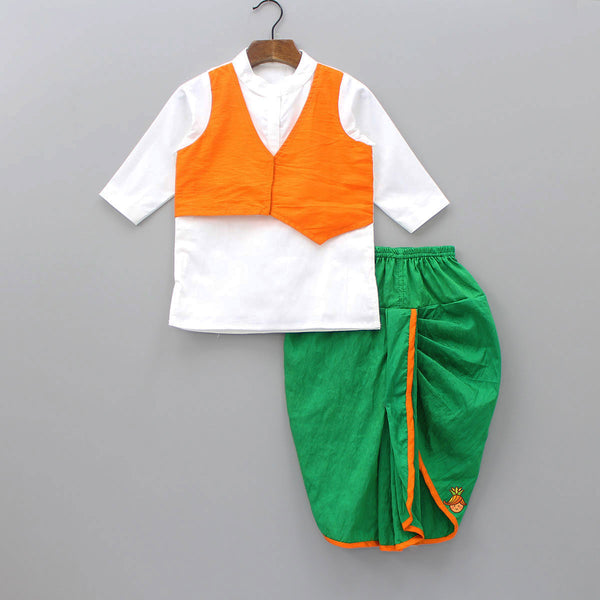 Pre Order: White Kurta With Attached Waistcoat And Green Dhoti