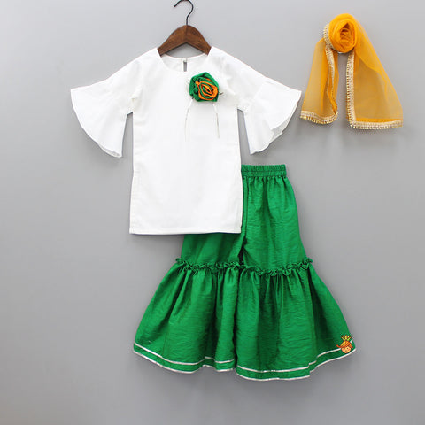 Pre Order: White Kurta And Green Sharara With Orange Dupatta