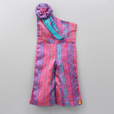 Pre Order: Multicolour Jumpsuit With Attached Dupatta