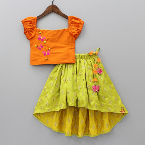 Pre Order: Orange Off -Shoulder Top With Green Up And Down Ghagra