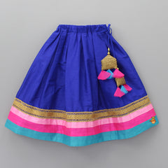 Pre Order: One-shoulder Pink Top And Navy Blue Ghagra