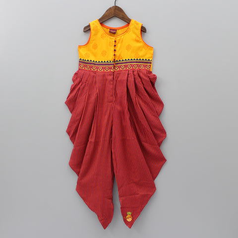 Yellow And Red Stripy Jumpsuit