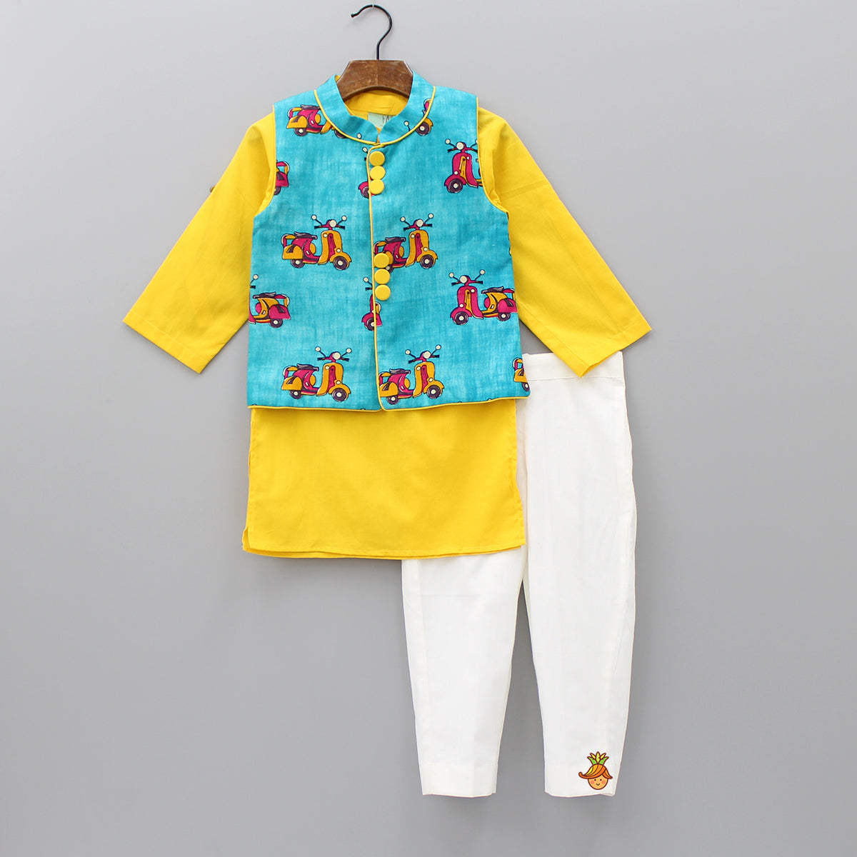 Pre Order: Yellow Kurta And White Pant With Scooter Print Jacket