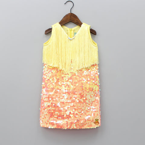 Pre Order: Yellow And Orange Fringy Sequin Dress