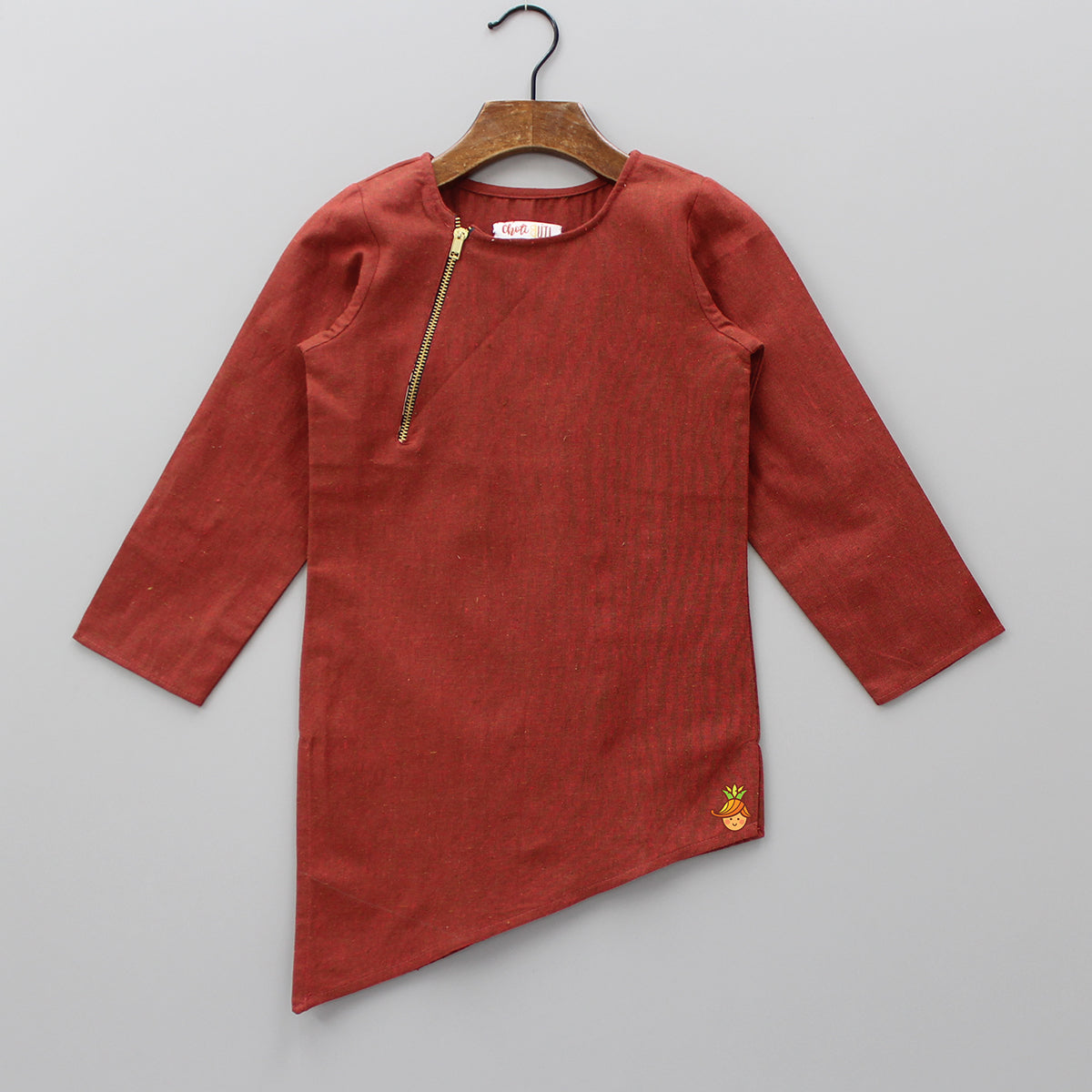 Pre Order: Rust Kurta With Zip