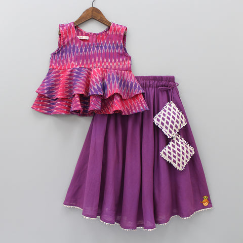 Pre Order: Ikat Peplum Top And Purple Ghagra