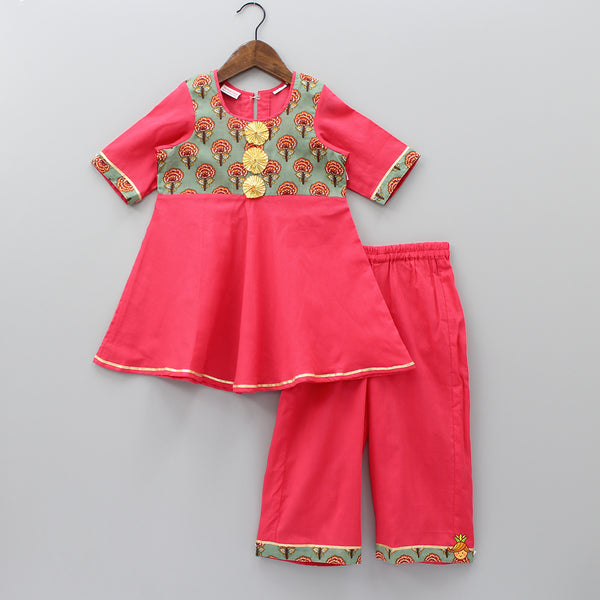 Pre Order: Red Kurti And Palazzo Set