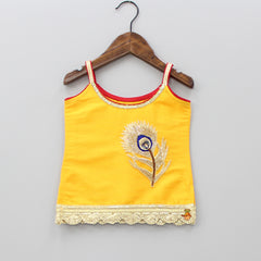 Pre Order: Yellow Peacock Feather Motif Top And Red Sharara
