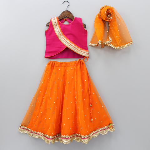 Pre Order: Pink Top And Orange Ghagra With Dupatta