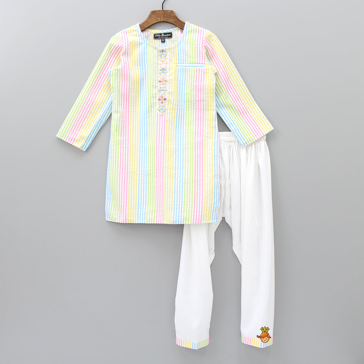 Pre Order: Multicolour Striped Kurta And Patiala