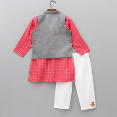 Pre Order: Organic Red Checks Kurta And White Pyjama With Grey Jacket