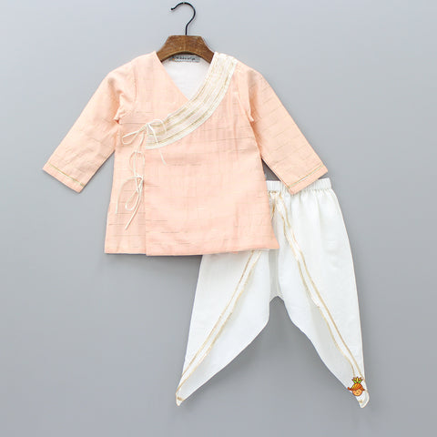Pre Order: Organic Peach Angarkha And White Dhoti