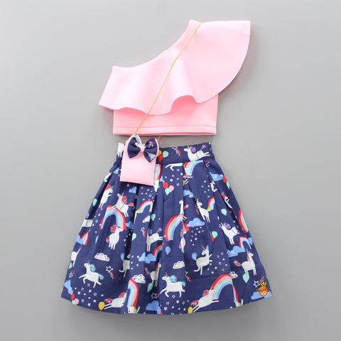 Pre Order: Pink Crop Top With Navy Blue Unicorn Printed Knee Length Skirt