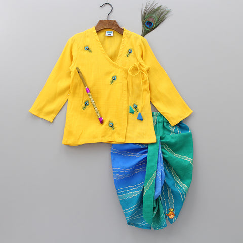 Pre Order: Yellow Peacock Embroidered Angarkha And Dhoti
