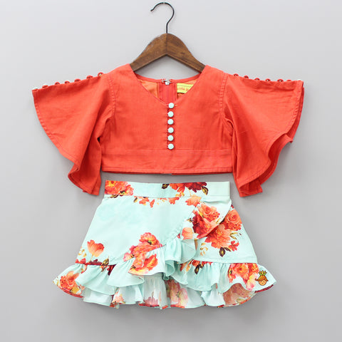Pre Order: Orange Top With Floral Print Up And Down Skirt